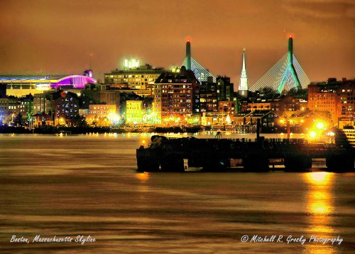 Boston Skyline Featuring Zakim-Bunker Hill Bridge